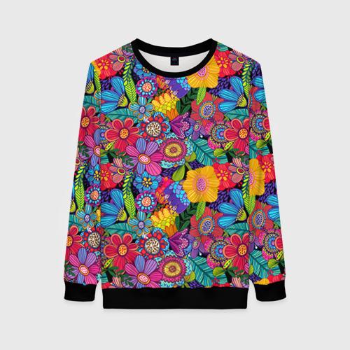 Женский 3D свитшот Яркие цветы