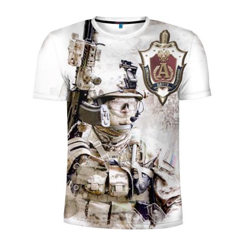 Мужская футболка 3D спортивная с принтом Альфа, отряд, спецназ России,, вид спереди #2