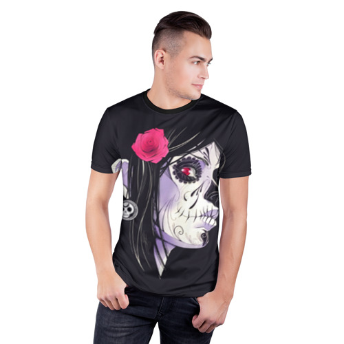 Мужская футболка 3D спортивная с принтом День мертвецов, фото на моделе #1