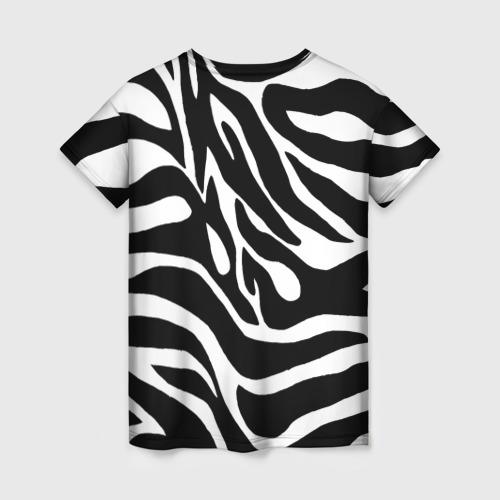 Женская 3D футболка с принтом Зебра, вид сзади #1