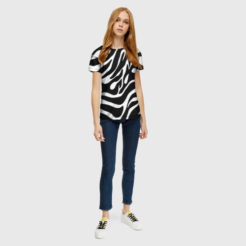 Женская 3D футболка с принтом Зебра, вид сбоку #3