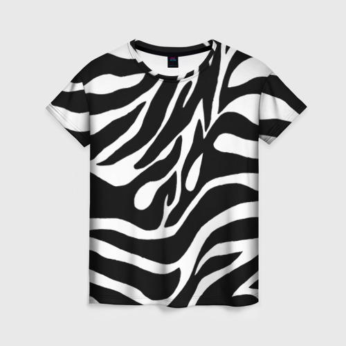Женская 3D футболка с принтом Зебра, вид спереди #2