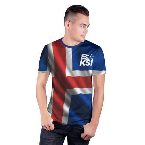 Мужская футболка 3D спортивная с принтом Исландия, фото на моделе #1