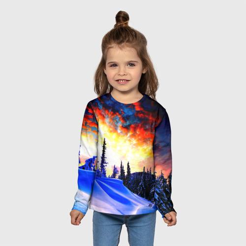 Детский лонгслив 3D с принтом Зимний лес, вид сбоку #3