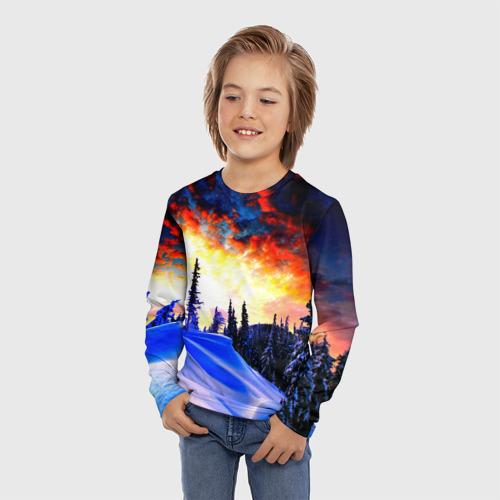 Детский лонгслив 3D с принтом Зимний лес, фото на моделе #1