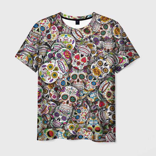Мужская 3D футболка Мексиканские черепа