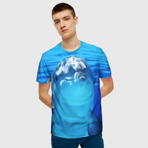 Мужская 3D футболка с принтом Дельфин, фото на моделе #1