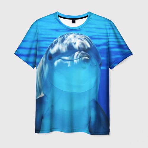 Мужская 3D футболка с принтом Дельфин, вид спереди #2
