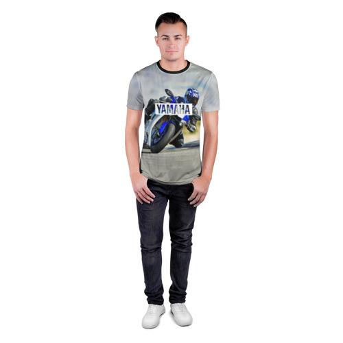 Мужская футболка 3D спортивная с принтом Yamaha 5, вид сбоку #3