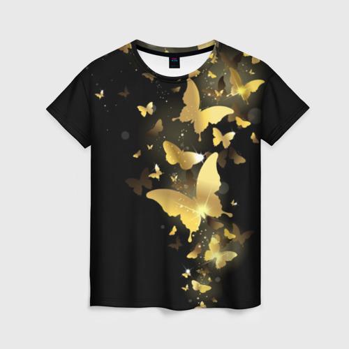 Женская 3D футболка Золотые бабочки