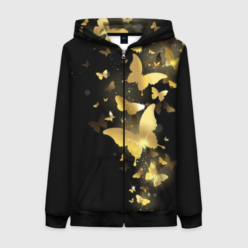 Женская толстовка на молнии Золотые бабочки