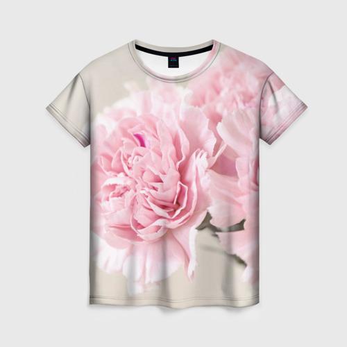 Женская 3D футболка Розовый цветок 5