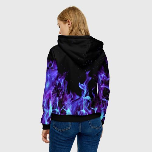 Женская 3D толстовка с принтом Синий огонь, вид сзади #2