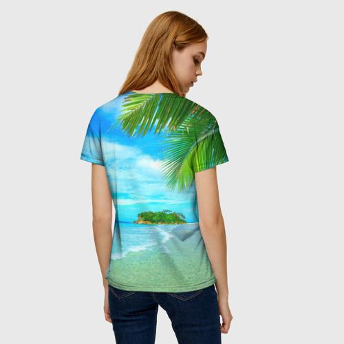 Женская 3D футболка с принтом Лето, вид сзади #2
