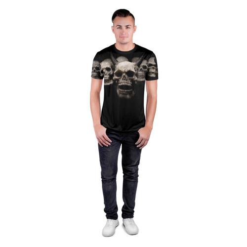 Мужская футболка 3D спортивная с принтом Череп с рогами, вид сбоку #3