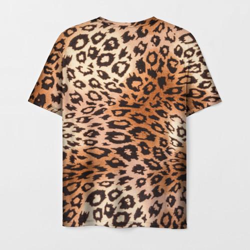 Мужская 3D футболка с принтом Леопардовая шкура, вид сзади #1