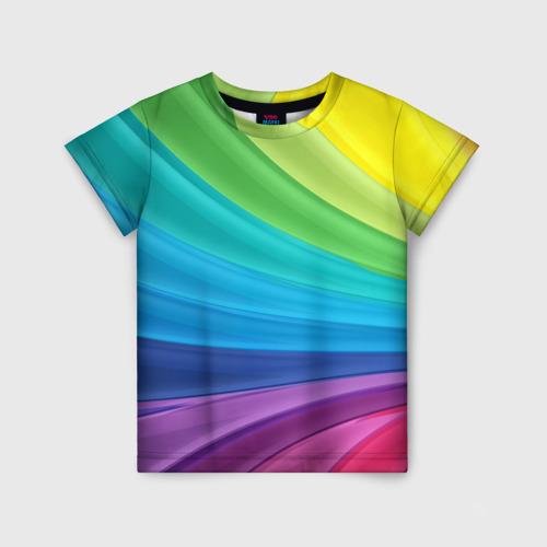 Детская 3D футболка с принтом Радуга, вид спереди #2