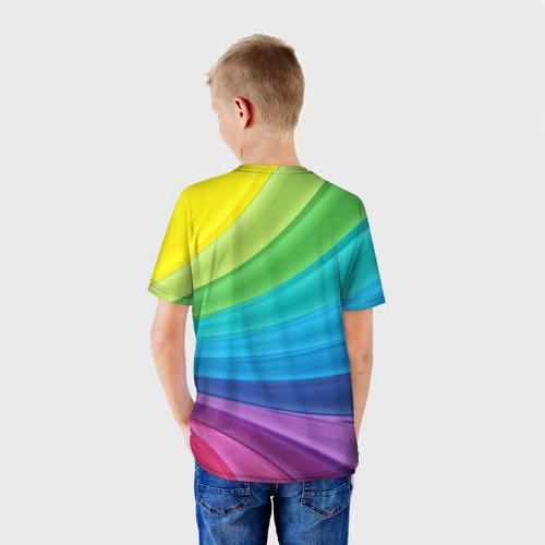 Детская 3D футболка с принтом Радуга, вид сзади #2