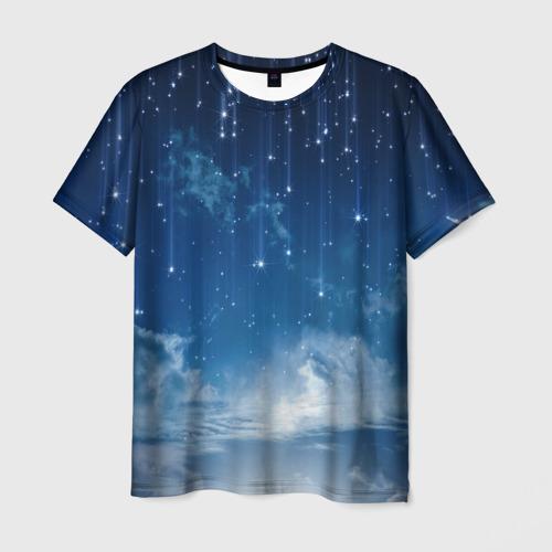 Мужская 3D футболка с принтом Звездное небо, вид спереди #2