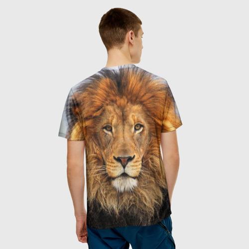 Мужская 3D футболка с принтом Красавец лев, вид сзади #2