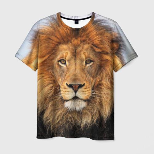 Мужская 3D футболка с принтом Красавец лев, вид спереди #2