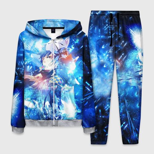 Мужской 3D костюм с принтом Blue Exorcist blue art, вид спереди #2