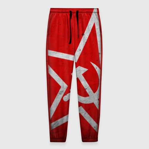 Мужские брюки 3D с принтом Флаг СССР: Серп и Молот, вид спереди #2