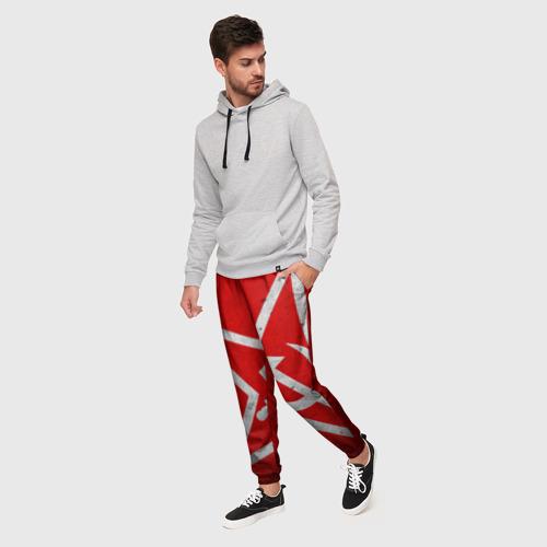 Мужские брюки 3D с принтом Флаг СССР: Серп и Молот, фото на моделе #1