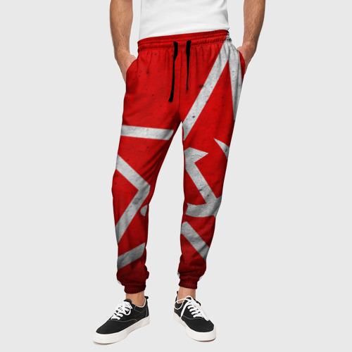 Мужские брюки 3D с принтом Флаг СССР: Серп и Молот, вид сбоку #3