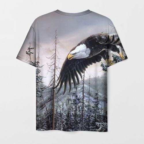 Мужская 3D футболка с принтом Орел, вид сзади #1