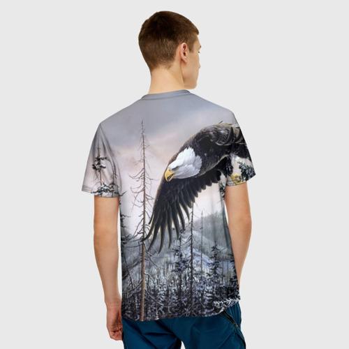 Мужская 3D футболка с принтом Орел, вид сзади #2