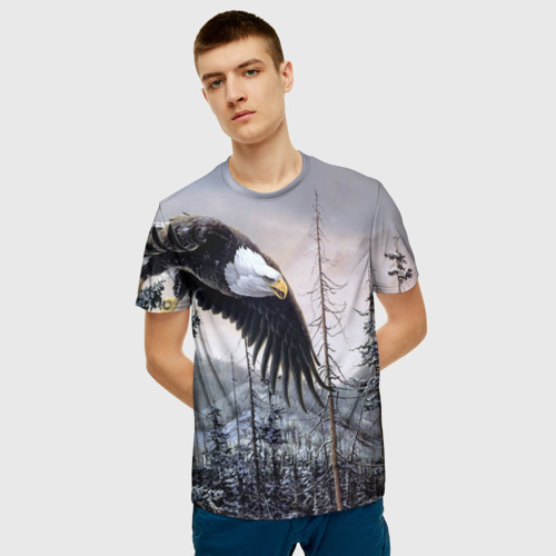 Мужская 3D футболка с принтом Орел, фото на моделе #1
