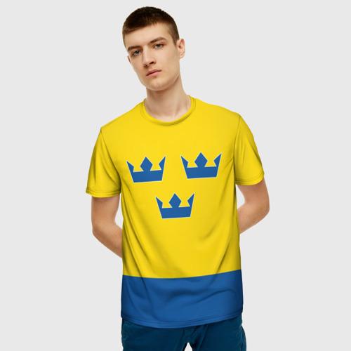 Мужская 3D футболка с принтом Сборная Швеции по Хоккею, фото на моделе #1