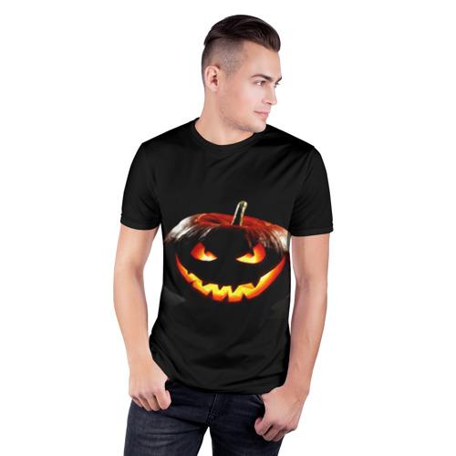 Мужская футболка 3D спортивная с принтом Хитрая тыква, фото на моделе #1