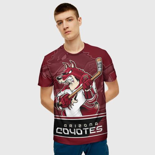 Мужская 3D футболка с принтом Arizona Coyotes, фото на моделе #1