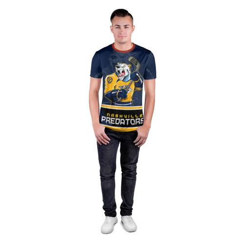 Мужская футболка 3D спортивная с принтом Nashville Predators, вид сбоку #3