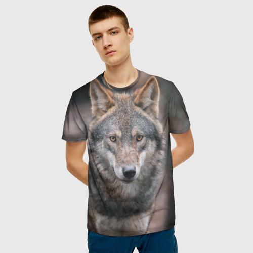 Мужская 3D футболка с принтом Wolf, фото на моделе #1