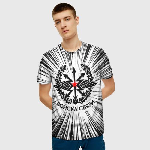 Мужская 3D футболка с принтом Войска связи, фото на моделе #1