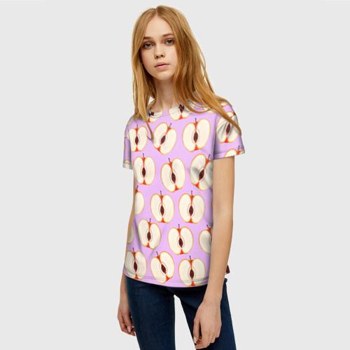 Женская 3D футболка с принтом Молодильные яблочки, фото на моделе #1
