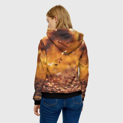 Женская 3D толстовка с принтом Котик в листьях, вид сзади #2