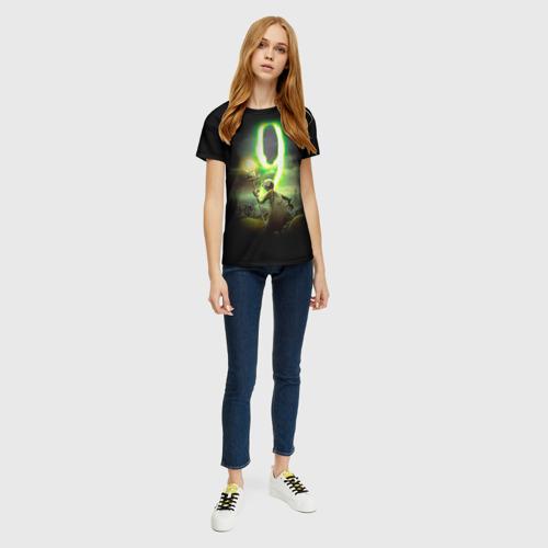 Женская 3D футболка с принтом Девять 6, вид сбоку #3