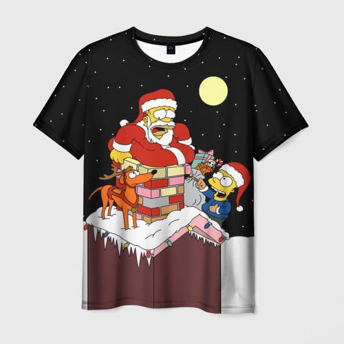Мужская 3D футболка с принтом Симпсон - Санта Клаус, вид спереди #2