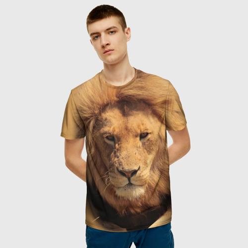 Мужская 3D футболка с принтом Лев, фото на моделе #1