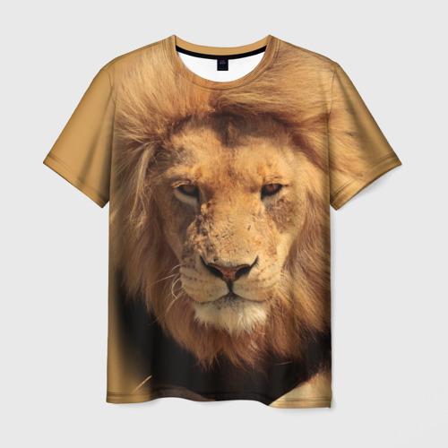 Мужская 3D футболка с принтом Лев, вид спереди #2