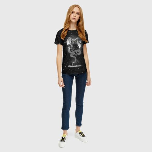 Женская 3D футболка с принтом Ночная сова, вид сбоку #3