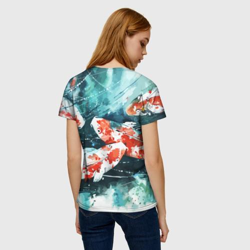 Женская 3D футболка с принтом Koi Fish (карпы кои), вид сзади #2