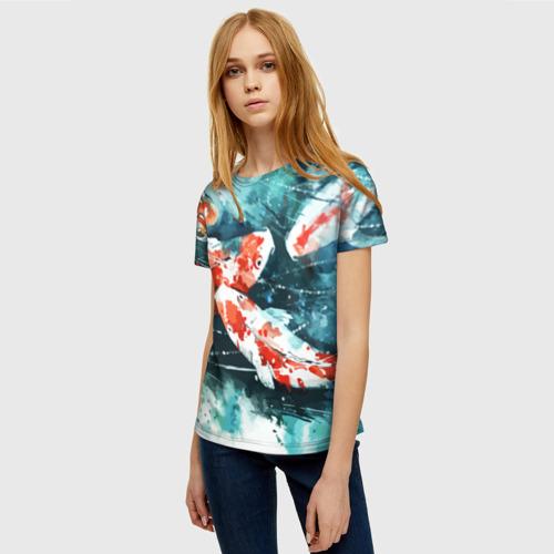 Женская 3D футболка с принтом Koi Fish (карпы кои), фото на моделе #1