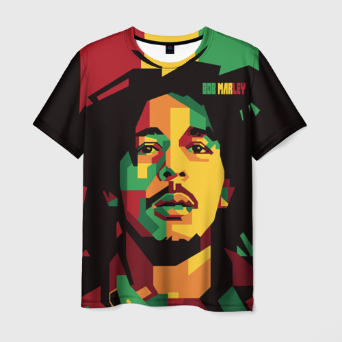 Мужская 3D футболка с принтом Ямайка, Боб Марли, вид спереди #2