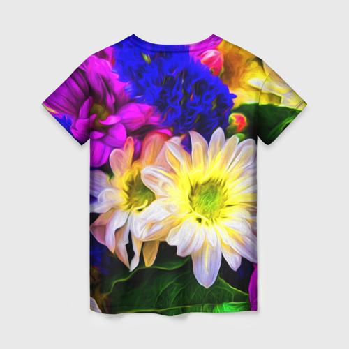 Женская 3D футболка с принтом Райские цветы, вид сзади #1