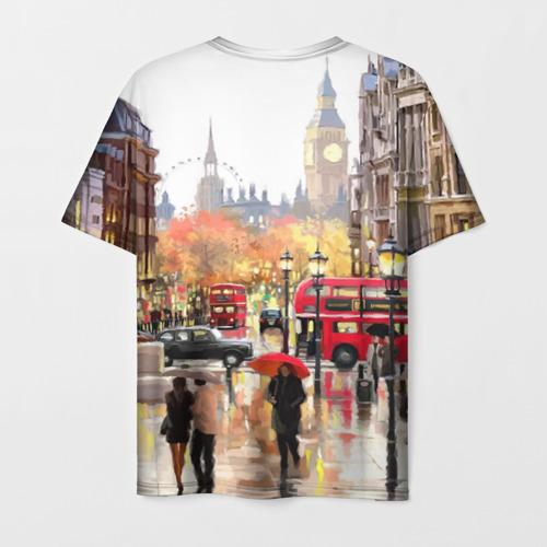 Мужская 3D футболка с принтом Улицы Лондона, вид сзади #1